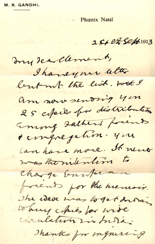 handwritten letter from mk gandhi phoenix natal to clement doke about passive resisters including his wife in the volksrust prison