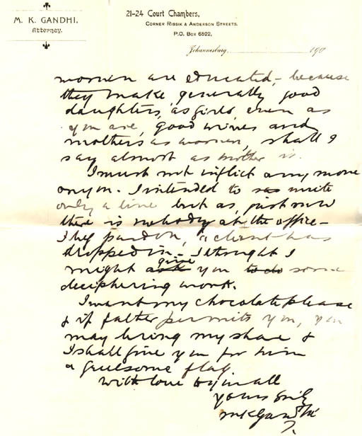 handwritten letter with envelope from mk gandhi johannesburg to olive doke about the education of indian women