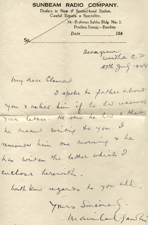 Handwritten cover letter from Manilal Gandhi to Clement Doke about ...