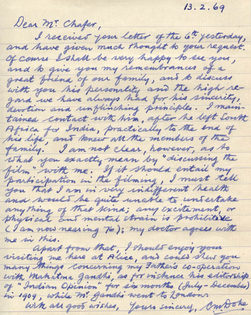 Handwritten letter from clement doke to peter chafer about the bbc handwritten letter from clement doke to peter chafer about the bbc tv programme on mk gandhi to be filmed in south africa spiritdancerdesigns Images